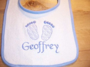 Footprint Baby Bib with Name