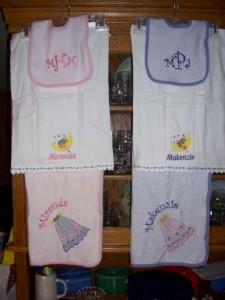 Matching Blanket, Burp Cloth & Bibs sets
