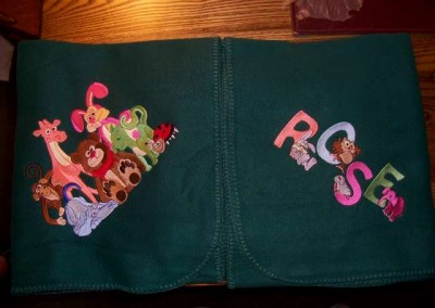 Blanket with Animals & Name
