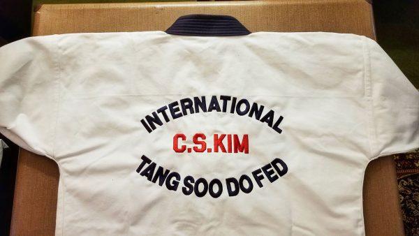 C.S. Kim Gi with International Tang Soo Do Fed embroidered on back