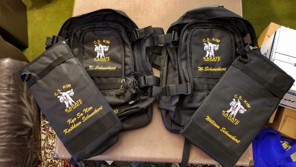 Karate Bags embroidered with names and C.S. Kim Karate logo