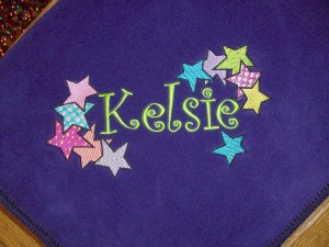 Personalized Kid's Blanket Embroidered with Name & Colorful Stars