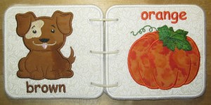 Embroidered Book of Colors for Baby - Dog & Pumpkin