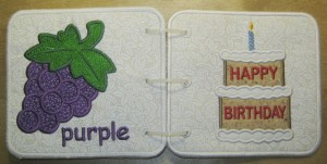Embroidered Book of Colors for Baby - Grapes & Birthday Cake