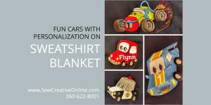 Fun Cars on Sweatshirt Blanket