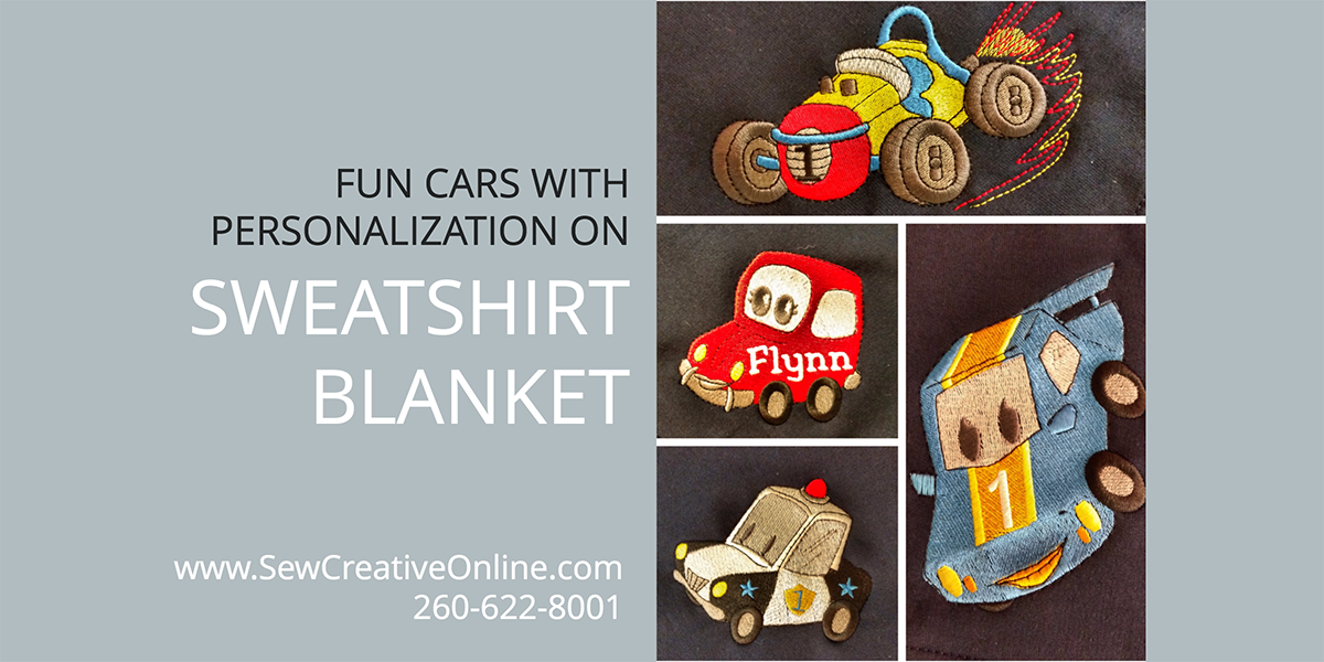 Fun Cars with Personalization on Sweatshirt Blanket