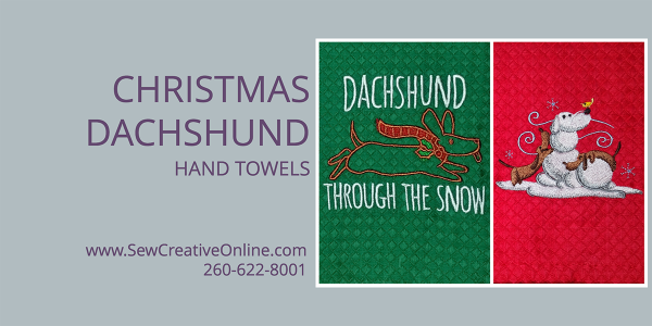 Christmas Dachshund Hand Towels