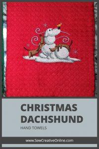 Christmas Dachshund Snowdoggie Hand Towels