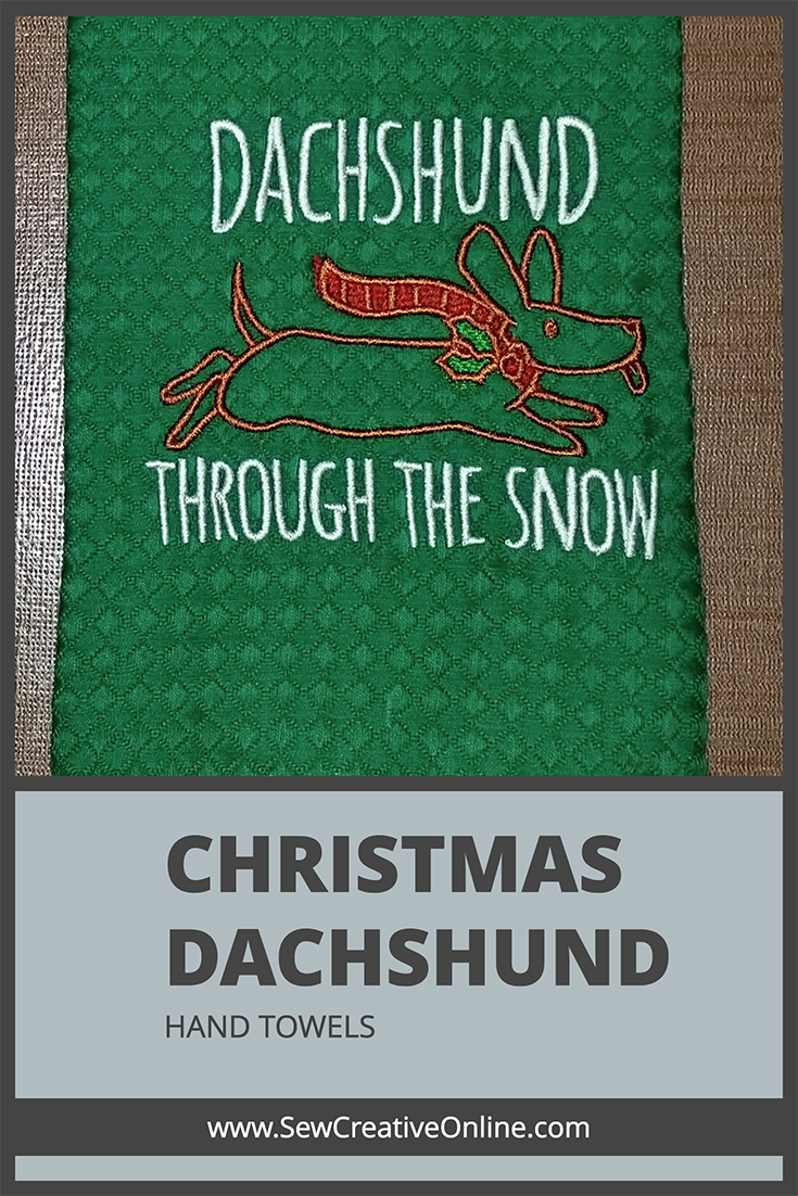 Christmas Dachshund Through The Snow Hand Towels