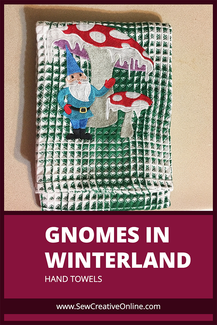 Gnomes in Winterland Hand Towel - Gnome with Toadstools