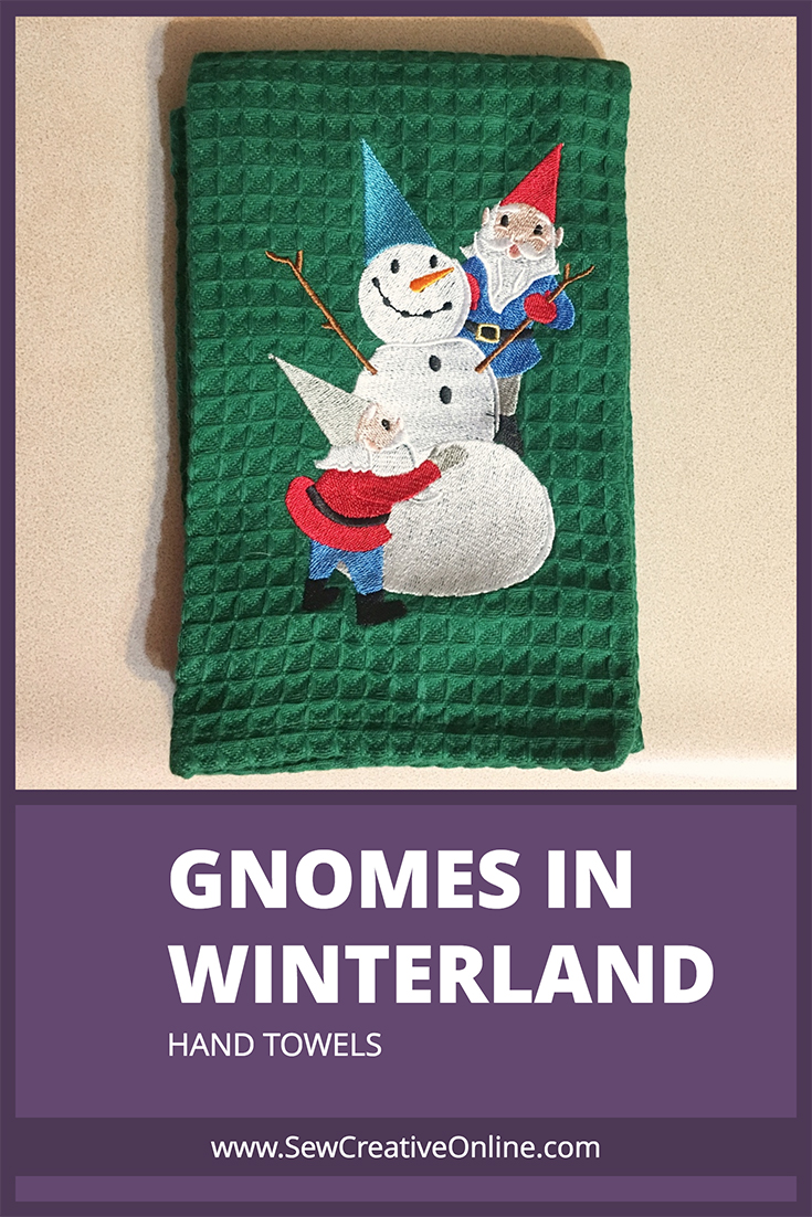 Gnomes in Winterland Hand Towel - Gnomes building Snowman