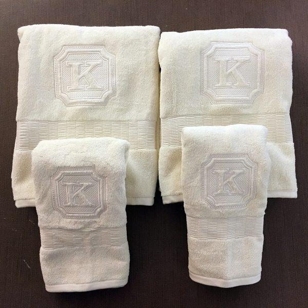Bath Towel Set with Embossed K Monogram