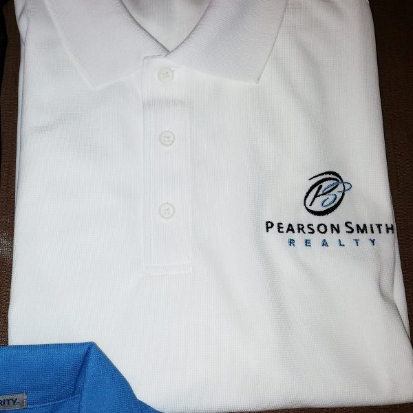 Men's Polo Style K572 with the Pearson Smith logo embroidered on the left chest