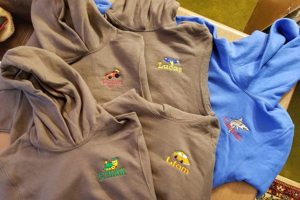 Personalized Youth Hoodies Each with Embroidered Image and Name
