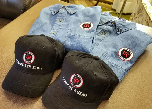 Denim Shirts and Baseball Caps Embroidered with Little River Railroad's Logo