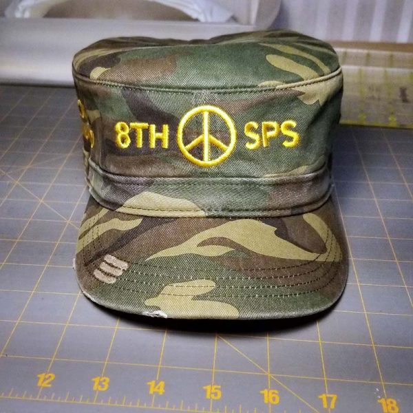 Custom hat embroidered for a veteran, front view