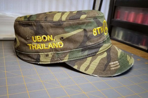 Custom hat embroidered for a veteran, right side view