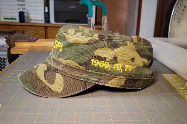 Custom hat embroidered for a veteran, left side view