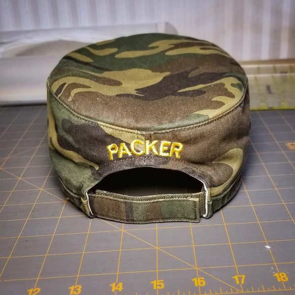 Custom hat embroidered for a veteran, back view, personalized with name